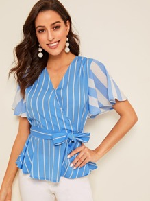 Striped Print Belted Wrap Peplum Blouse