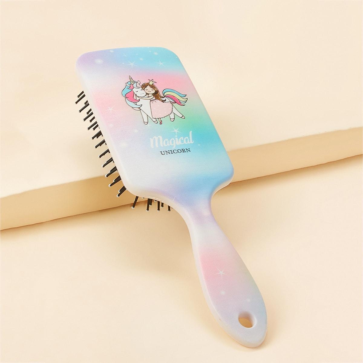 Расческа для волос с принтом единорога