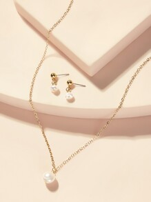 Faux Pearl Pendant Necklace & Drop Earrings 3pcs