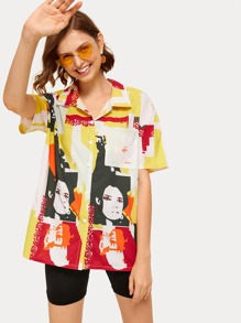 Figure Print Button Front Shirt