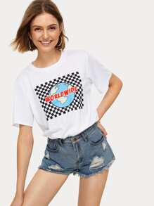 Check Plaid Letter Print Tee