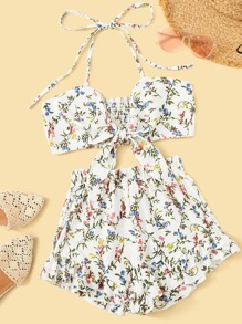 Ditsy Floral Tie Front Shirred Halter Top With Shorts