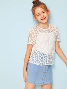 Girls Embroidered Mesh 2 In 1 Top
