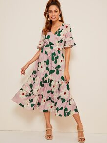 46603f49113 Surplice Large Floral Print Ruffle Hem Dress