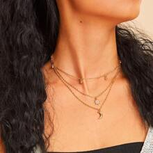 Moon & Star Pendant Layered Chain Necklaces 1pc
