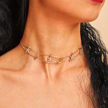 Moon & Rhinestone Star Detail Chain Necklaces 1pc