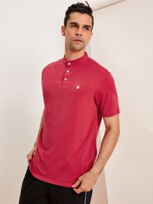 Men Crown Embroidered Polo Shirt