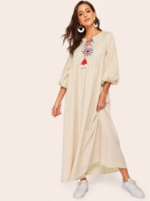 Embroidered Detail Lantern Sleeve Striped Maxi Dress