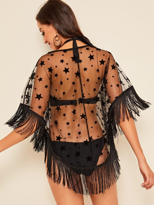31328f8827 Star Sheer Mesh Tassel Hem Cover Up Without Bra | SHEIN UK