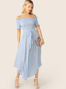 Off Shoulder Frill Trim Shirred Flowy Dress With Belt