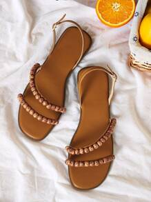 Beaded Decor Slingback Sandals