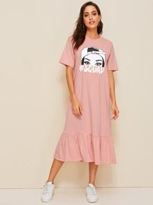 Figure & Letter Print Ruffle Hem Dress
