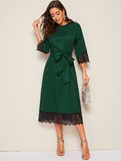 Eyelash Lace Hem Belted Tunic Dress