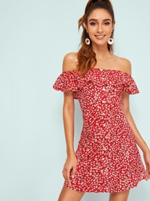 Ruffle Yoke Button Front Ditsy Floral Dress