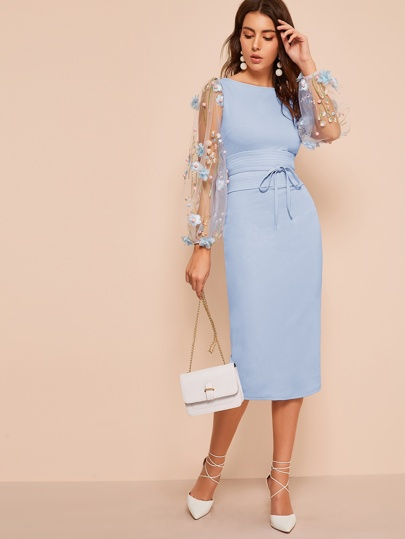 e186805ee2bf6 3D Appliques Mesh Sleeve Corset Belted Pencil Dress