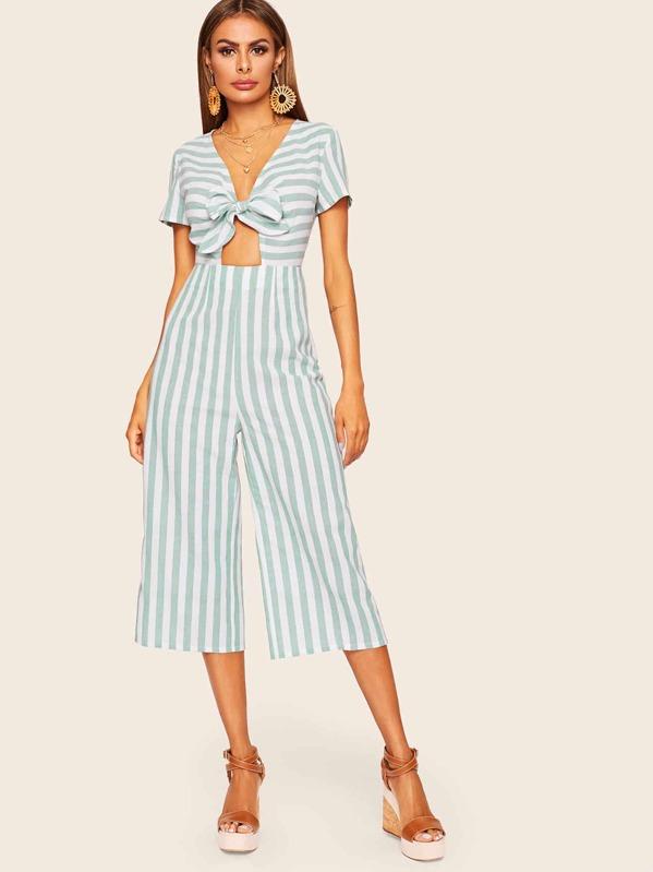 d6abc29eb0 Knot Front Peekaboo Striped Culotte Jumpsuit | SHEIN