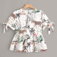 Plus Tropical And Animal Print Peplum Hem Blouse