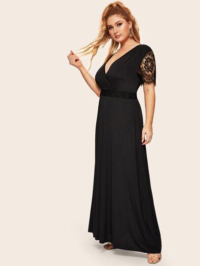 489bfad38ba Plus Contrast Eyelash Lace Surplice Front Dress