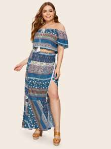 Plus Tie Neck Tribal Print Bardot Blouse With Wrap Skirt