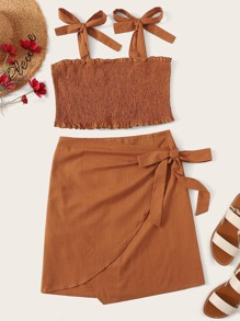 Plus Tie Strap Shirred Top & Wrap Skirt Set