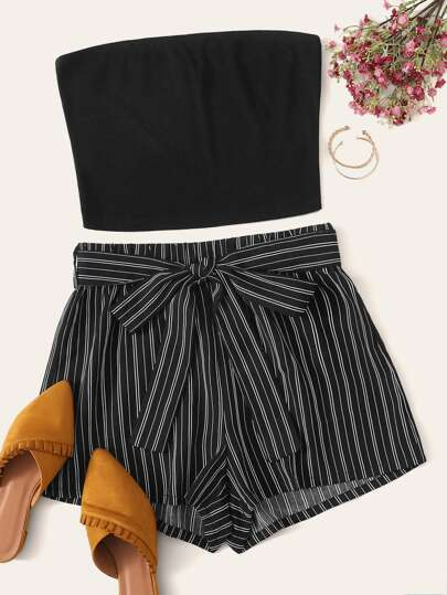 f370483f930a Solid Bandeau Top & Belted Striped Shorts