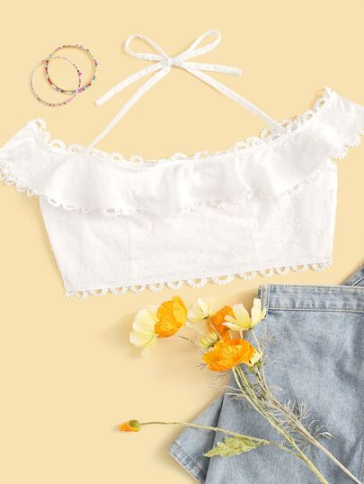 Swiss Dot Lace Trim Halterneck Crop Top