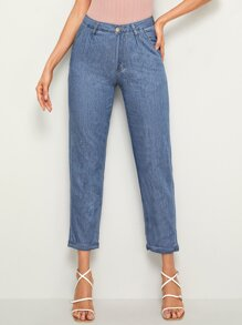 Rolled Hem Crop Tapered Jeans