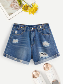 Bleach Wash Ripped Rolled Hem Denim Shorts