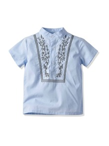 Toddler Boys Embroidery Detail Henley Shirt