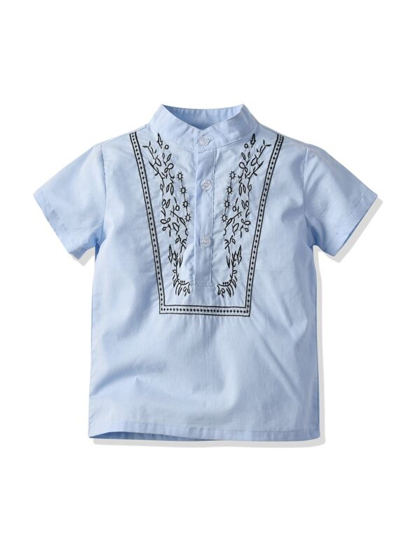 37be51822 Toddler Boys Embroidery Detail Henley Shirt | SHEIN UK