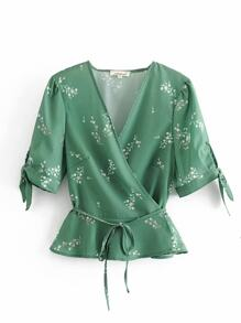 Ditsy Floral Belted Wrap Blouse