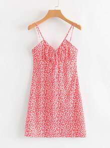 Ditsy Floral Knot Front Cami Dress