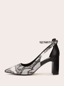 Pointed Toe Snakeskin Ankle Strap Heels