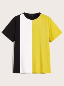 Men Colorblock Short Sleeve Tee