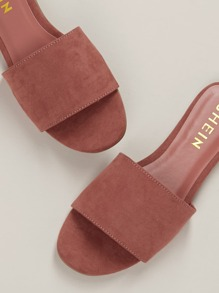 Wide Band Slide On Flat Sandals
