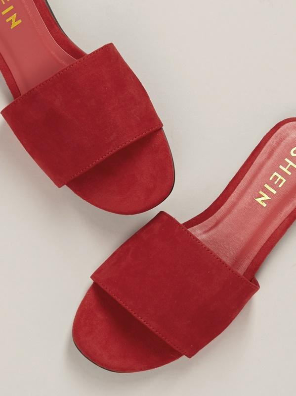 Toe Flat Strap Open Solid Slide Mule Sandals uTFKcl31J5