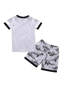 8560769a96f3 Toddler Boys Dinosaur Print Ringer Tee With Shorts | SHEIN