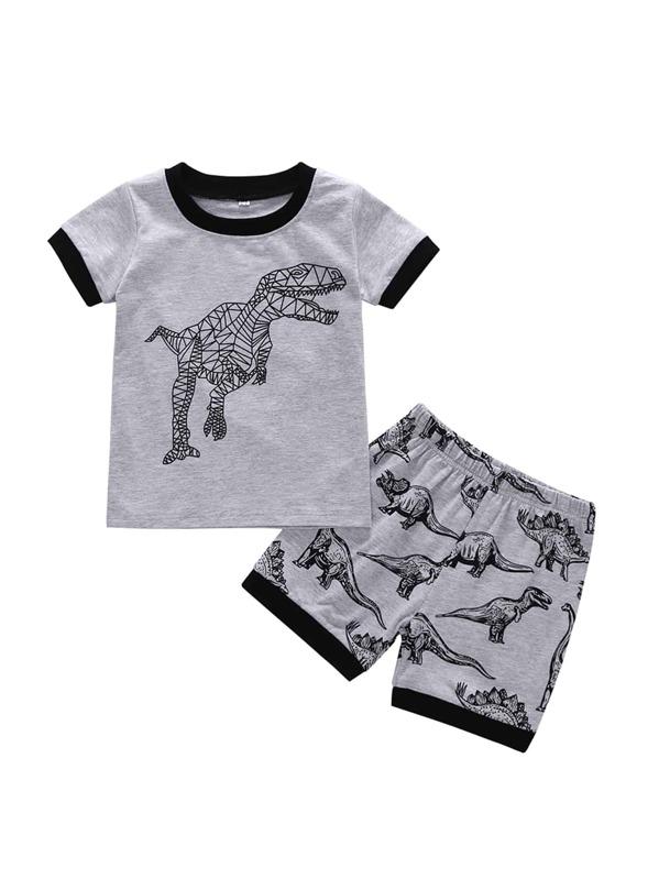 32c2679706d6 Toddler Boys Dinosaur Print Ringer Tee With Shorts | SHEIN UK
