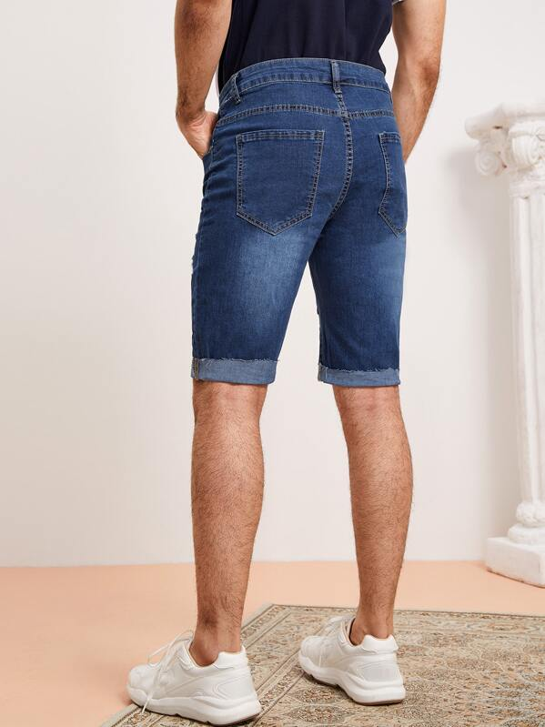 Rotos De Bermuda Doblez Hombres Shorts Denim Bajo QChrdsxt