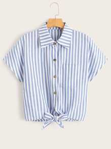 Knot Hem Button Through Striped Boxy Blouse