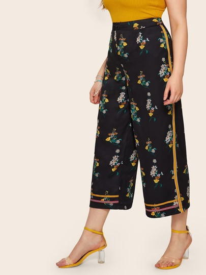 8c260e8e49b Plus Wide Leg Floral Print Pants