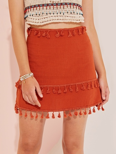 be4714dfe91 Solid Layered Tassel A-line Skirt