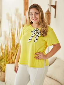 Plus Polka Dot Bow Front Tee
