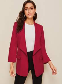 Roll Up Sleeve Waterfall Neck Blazer