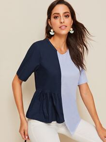 Spliced Asymmetrical Hem Blouse