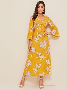 Floral Print Flounce Sleeve Tie Back Maxi Dress