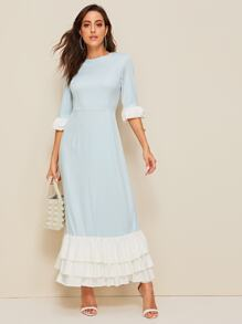 Tiered Layered Hem Layered Sleeve Maxi Dress