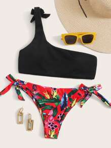 One Shoulder Top With Tie Side Bikini Set