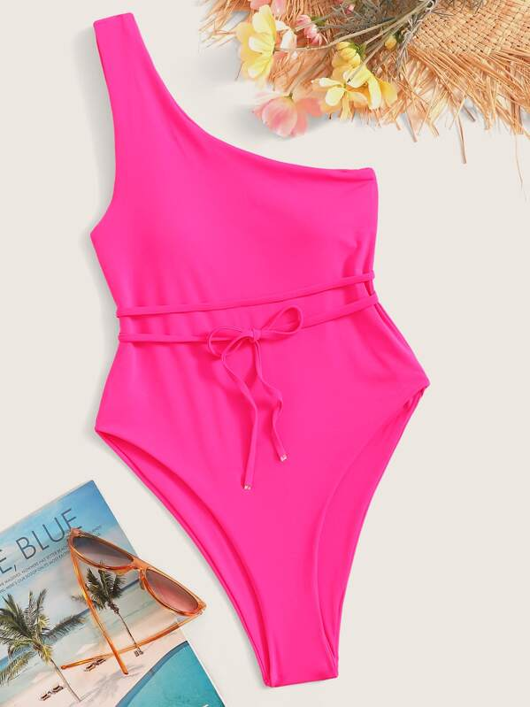 f6a2a57252 Neon Pink One Shoulder Belted One Piece Swimsuit | SHEIN UK
