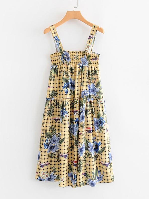 09e79fb1e1e Floral   Gingham Print Shirred Cami Dress